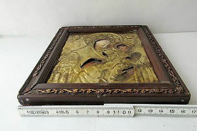 Antique Russian icon with gilded brass oklad (Riza) Virgin and Child 9