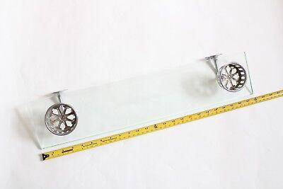 antique bathroom glass shelf double cup holder | hoegger deco vtg tumbler holder 11