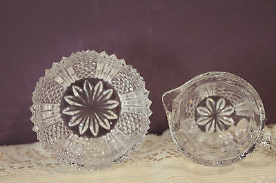 Beautiful Cut Glass Cream, Open Sugar And Tray 8