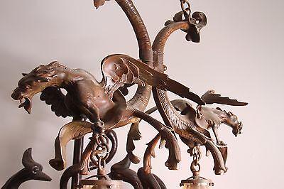 19C French Bronze Winged Griffin/Gargoyle/Dragon Chandelier 3