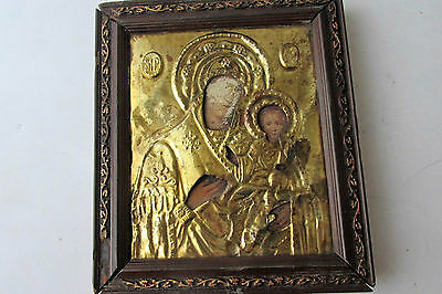 Antique Russian icon with gilded brass oklad (Riza) Virgin and Child 4