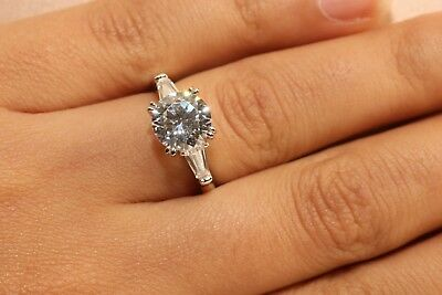 2 Ct Round Cut Diamond Solitaire Engagement Ring 14K White Gold Enhanced 2