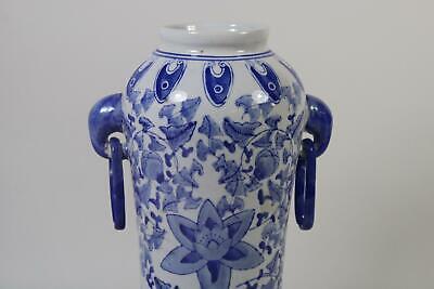 Chinesische 35cm Porzellan Henkelvase Vase handbemalt Pflanzendekor RK012