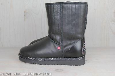 1c7b2659124 UGG STAR WARS Darth Vader Black Leather Sheepskin Boots Us 7 Eu 38 Nib
