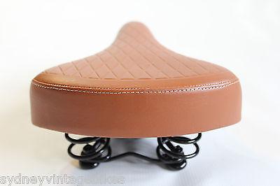 78b92a26cf4 ... LADIES BIKE SADDLE Vintage Bicycle SEAT TAN BROWN Quilted Vinyl COMFORT  Springs 5
