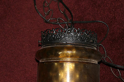 Vintage Cylinder Shape Hanging Lamp-Amber Color Glass-Gothic Style Lamp-LQQK 2 • CAD $188.99