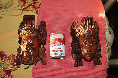 Stunning Chinese Wood Carved Opera Masks-Pair-Highly Detailed-Man & Woman-LQQK 9