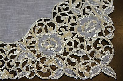 Organza Embroidered Lace Jeweled Beaded Placemat Runner White Silver Wedding