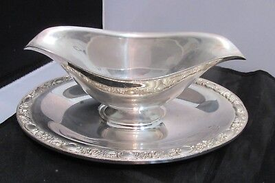 Rogers & Sons  Silver Plated  Gravy Bowel With Attached Underplate
