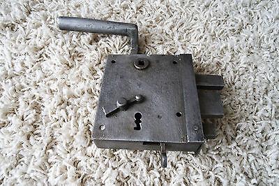 Vintage / antique beautiful large metal door lock with key,handle working order 7