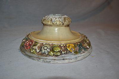 Antique Art Deco Ceiling Chandelier Light Fixture Ceramic Porcelain Pottery Vtg 2