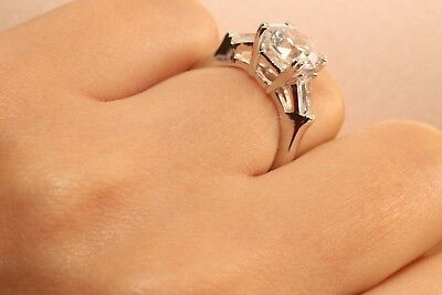 2 Ct Round Cut Diamond Solitaire Engagement Ring 14K White Gold Enhanced 6