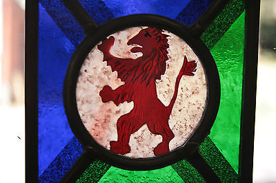 Stained Glass,Hand Painted,Kiln Fired, Lion Rampant Panel, 1300 B 2
