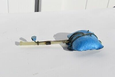Antique Chinese Cloisonne Lotus Leaf Shaped Ladle /Spoon With Real Jade Handle 11