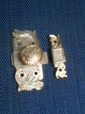 Vintage french solid brass Sliding Door Latch Lock Bolt w/ its keeper 2