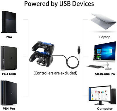 For PlayStation PS4 Dual Controller Charger Dock Station USB Fast Charging Stand 2