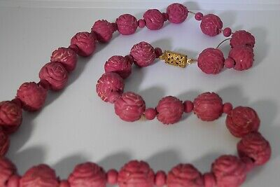"""Antique Chinese 12.5mm Carved Red Cinnabar Necklace 18.5"""" Golden Filigree Clasp 2"""