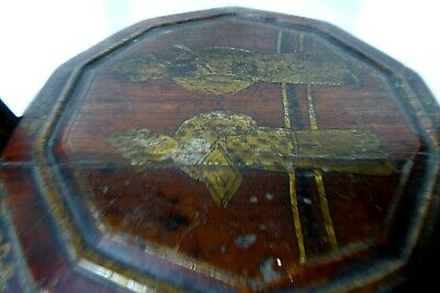 Chinese Lacquered Wooden Carry Basket Hand Painted Gilt 11