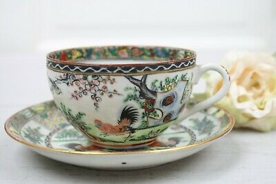 Antique Chinese Tea Cup and Saucer Set Red Black roosters Landscape Colorful 11