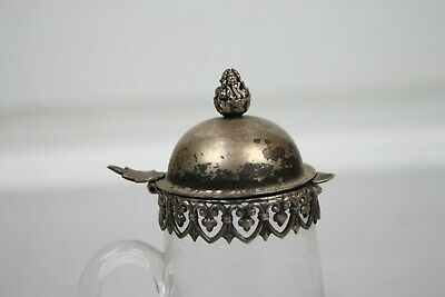 Antique Silverplate Glass Pitcher Syrup Small Lace Trim Cut Finial English 2