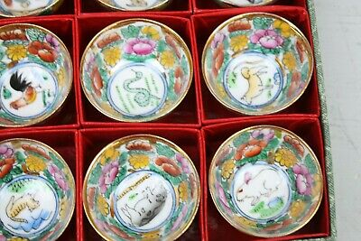 Antique Boxed Asian Cups Zodiac Signs Miniature Cups Bowls Set of 12 Animals 3