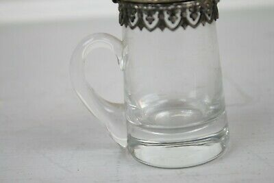 Antique Silverplate Glass Pitcher Syrup Small Lace Trim Cut Finial English 3