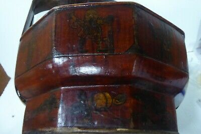 Chinese Lacquered Wooden Carry Basket Hand Painted Gilt 8