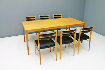 60er Years Dining Area Table & 6 Chairs Cherry & Leather Table Dining Room 60s 3