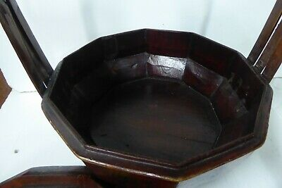 Chinese Lacquered Wooden Carry Basket Hand Painted Gilt 7