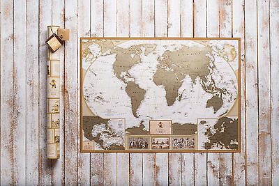 Deluxe World Scratch Map, Personal travel map, push pin map, anniversary gift 3