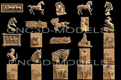 3D STL Models for CNC Router Carving Artcam Aspire Horse Animal Collection H1 3