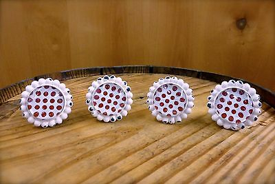 4 WHITE RED DOT FLOWER GLASS DRAWER CABINET PULLS KNOBS VINTAGE chic hardware 2