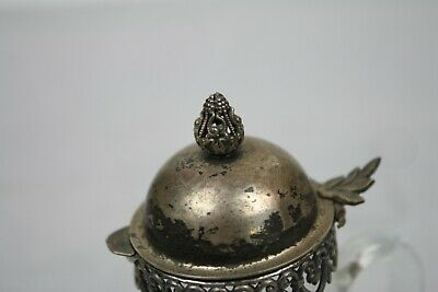 Antique Silverplate Glass Pitcher Syrup Small Lace Trim Cut Finial English 7