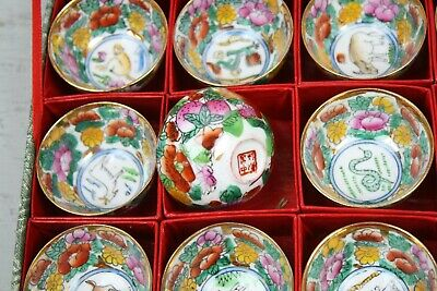 Antique Boxed Asian Cups Zodiac Signs Miniature Cups Bowls Set of 12 Animals 7