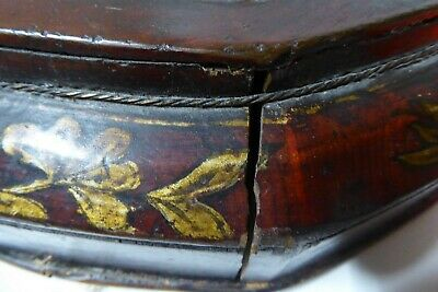 Chinese Lacquered Wooden Carry Basket Hand Painted Gilt 6