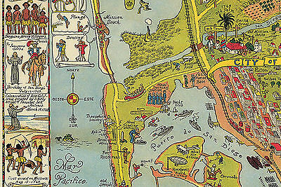 SAN DIEGO PICTORIAL LARGE Wall Map Art Poster Vintage Historical - Historical wall maps