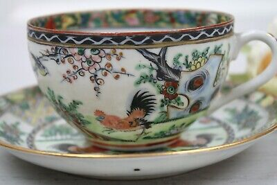 Antique Chinese Tea Cup and Saucer Set Red Black roosters Landscape Colorful 12