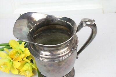 Vintage Silverplate Water Pitcher Signed Crescent Elegant Shape Form 2