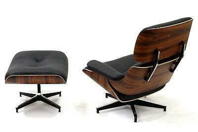 Mid Century Lounge Chair and Ottoman Rosewood WALNUT 100% REAL Italian Leather 2