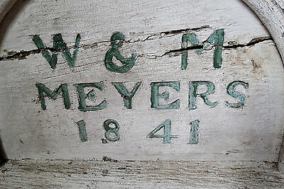 19th C WOODEN HOUSE DATE PLAQUE - W & M MEYERS 1841 2