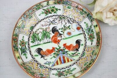 Antique Chinese Tea Cup and Saucer Set Red Black roosters Landscape Colorful 2