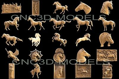 3D STL Models for CNC Router Carving Artcam Aspire Horse Animal Collection H1 2