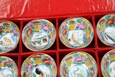 Antique Boxed Asian Cups Zodiac Signs Miniature Cups Bowls Set of 12 Animals 4