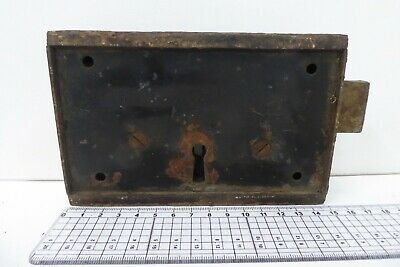 Unusual Antique Double Sided Victorian Door Rim Lock  Key Only Pad 6