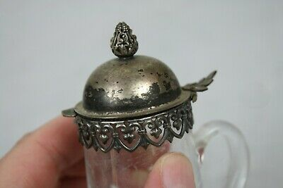 Antique Silverplate Glass Pitcher Syrup Small Lace Trim Cut Finial English 11