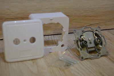 Antennen-Stich-/Enddose für TV + Radio mit AP Rahmen und Abdeckung weiß