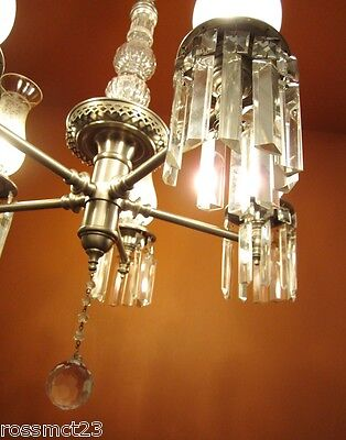 Vintage Lighting antique 1940s pewter crystal chandelier   Rare Very Beautiful 4