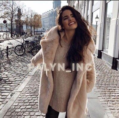 d54484d0 NWT ZARA AW18 Pink Nude Faux Fur Coat With Lapel Collar_Xs S M L Xl