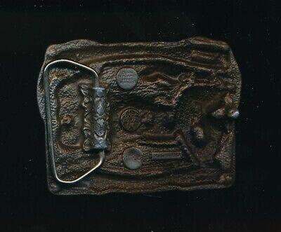 "1984 Bergamot Brass Key To Happiness God's River Flows Belt Buckle 3 1/4"" 2"