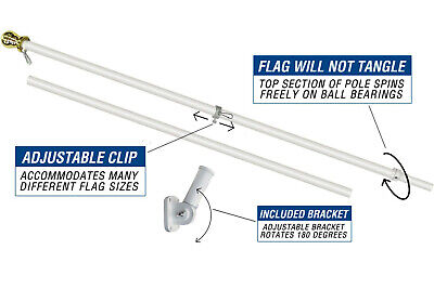 Betsy Ross 3 x 5 FT Flag Set w/ 6-Ft Spinning Flag Pole + Bracket (Tangle Free) 6